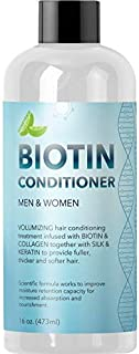 Natural Biotin Conditioner For Hair Loss - DHT Blocker Hair Growth Hair Follicle Stimulator - Dry Damaged Hair Treatment Sulfate Free With Aloe Vera Jojoba Oil Sea Buckthorn (16oz Conditioner)