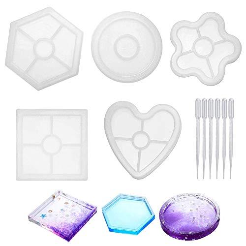FHYT 11 Pièces Silicone Coaster Mold Moules en Silicone de Résine pour Savon Bijoux Feuille Bougeoir Cendrier Coaster la Décoration de la Maison Artisanat Bricolage