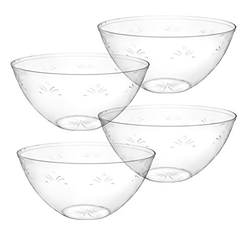 Round Crystal Clear Plastic Serving Bowls, Salad, Snack, Disposable Bowls, Perfect For Your Party or Event