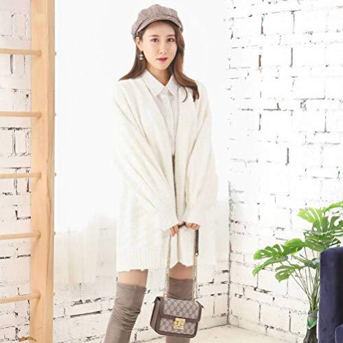 Dames pullover en pullover konijnenvel pullover vrouwelijk losse slijtage herfst en winter dikke sneeuwvlok donker patroon lange witte gebreide jas mantel Koreaanse stijl, JUSTTIME Eén maat wit