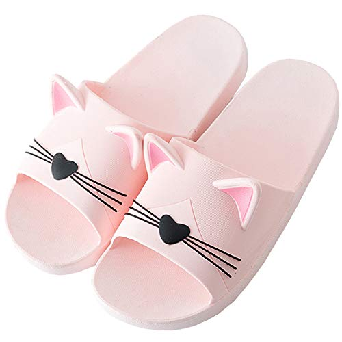Badelatschen Damen Antirutsch Dusch Badeschuhe mit Weich Fussbett Sommer Cartoon Hausschuhe Frauen Slip On Bade Sandalen Indoor Pink 37/38