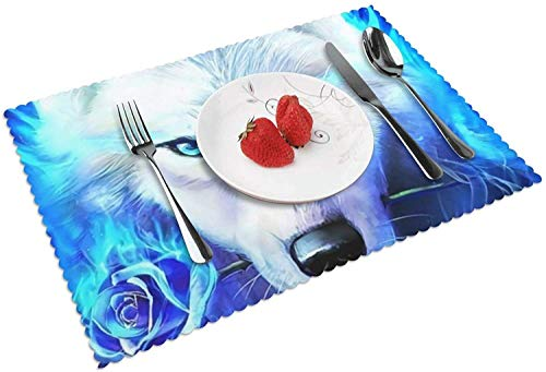 Pinterest Blue Ice Ice Wolf Wallpaper Tischsets 4er-Set für den Esstisch, strapazierfähige waschbare gewebte Vinyl-Tischsets für den Küchentisch, rutschfeste hitzebeständige, leicht zu reinigende