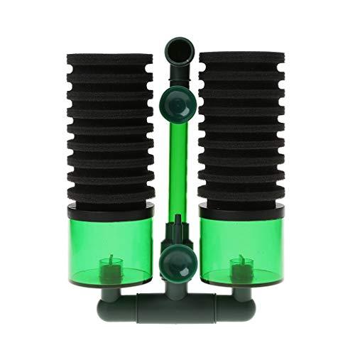 Ogquaton Aquarium Biochemische Schwammfilter Luftpumpe Doppelkopf mit Saugnapf - S Premium Qualität
