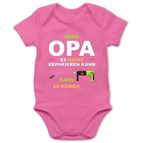 Shirtracer Strampler Motive - Wenn Opa es Nicht reparieren kann kann es keiner - 3/6 Monate - Pink - Body wenn Opa es Nicht reparieren kann - BZ10 - Baby Body Kurzarm für Jungen und Mädchen