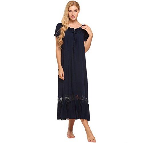WDDGPZSY Nachthemd/Nachtwäsche/Schlafhemd/Homewear/Pyjamas/Elegante Vintage Nachthemd Frauen Schulterfrei Kurzarm Rüschen Nachtwäsche Lounge Kleid Spitze PatchworkNachtwäsche, Blau, XL