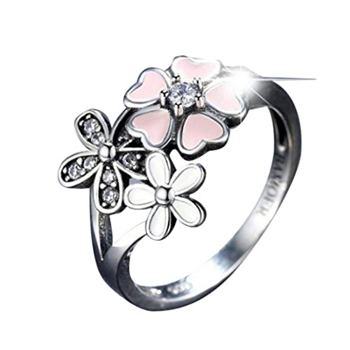 For Women girl lady couple DENER Cherry Blossom Pink Enamel Heart Floral Finger Ring Wedding Elegant Ring Jewelry Accessories for Engagement (Silver, 7)