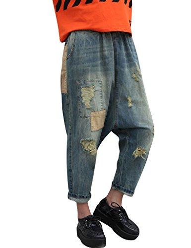 Youlee Frauen Patchwork Haremshose Zerstört Jeans Wide Leg Jeans Blue