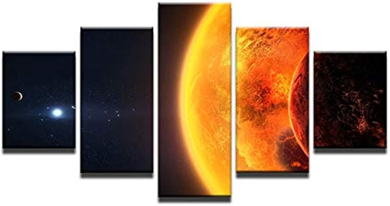 Wall Art Canvas Frame Painting Modular Picture Home Decor HD Printed 5 Pieces Earth Space Sun Planet Landscape Poster