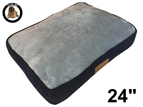 Ellie-Bo Hundebett für Käfig oder Transportbox, 61cm, Größe S, 56cmx41cm, Seiten aus blauem Cord, Oberseite aus grauem Kunstfell
