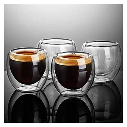 Augus Jacob Doppelter Wand schoss Wein Bier Glas doppelwand Espresso kaffeetasse Tee Set Cup 80-450ml hitzebeständige Teetasse Gläser (Capacity : 1PC 450ML)