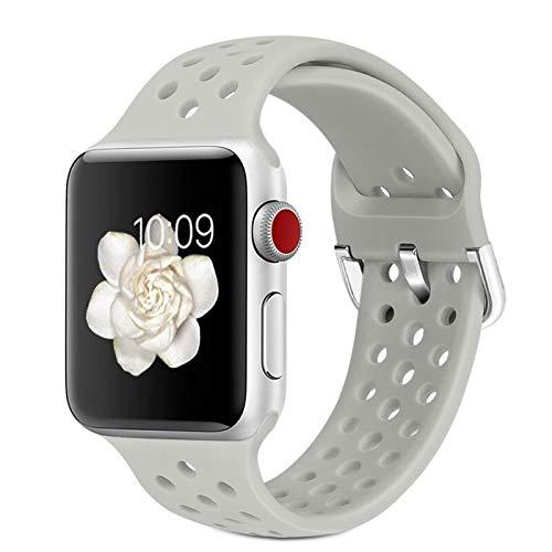 Hspcam Correa de goma para Apple Watch SE 6, 4, 5, 40 mm, 44 mm, correa de silicona suave, transpirable, para iWatch Series 5, 4, 3, 2, 1, 38 mm, 42 mm, (para 38 mm y 40 mm, color 19)