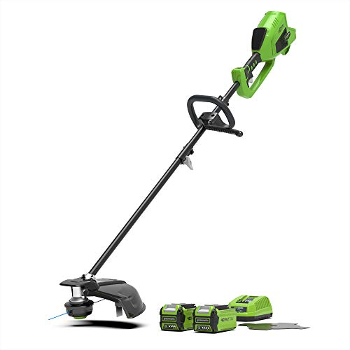 Greenworks Cordless Lawn Trimmer & Scythe 2in1 GD40BCK2X (Li-Ion 40 V 40 cm / 25 cm Cutting Width 2 mm Thread / Knife 5300 RPM Adjustable Handle Brushless Motor incl. 2 batteries 2Ah & charger)