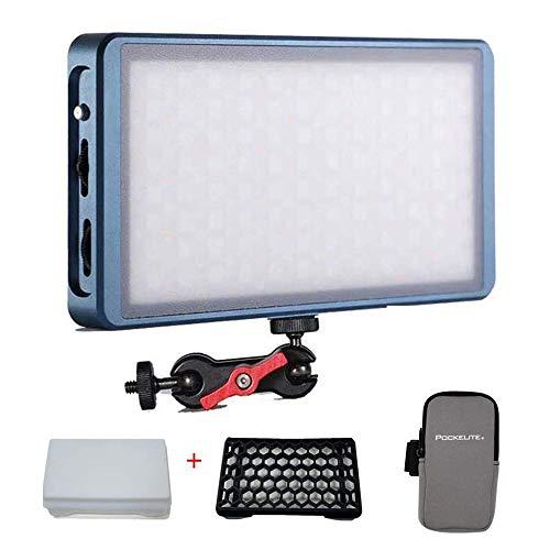 Falcon Eyes F7 RGB LED Video Light + Softbox y Honeycomb Grid Dimmable 2500K-9000K Luz de cámara DSLR de Bolsillo con 16 situaciones aplicables, Sistema de Soporte Ajustable con batería incorporada