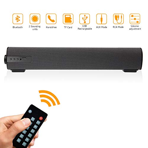 Sound Bars for TV/PC, 2 X 5W Audio Soundbar TV Speakers with Wired & Wireless Bluetooth 5.0, 16.9 Inches Sound Bar with Subwoofer for Home Theater, AUX/RCA Connection/TF Card and Remote Control