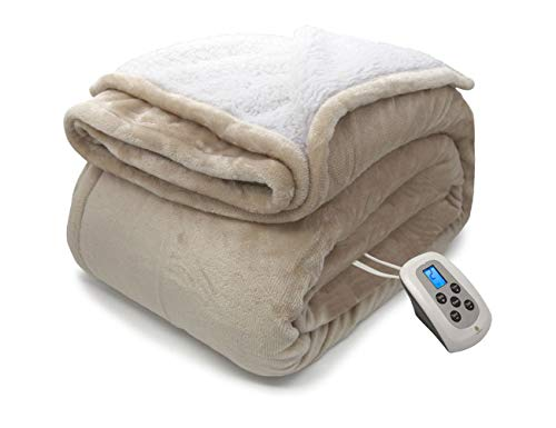 MARQUESS Heated Blanket Micro Plush Sherpa and Reversible Flannel Washable Comfortable Electric Throw Blanket with 4 Heat Settings/Safety 10 Hours Auto-Off Dual Controllers( Linen, Queen)
