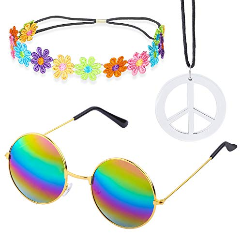 Beelittle Hippie Costume Set - 60's Style Retro Vintage Glasses Peace Sign Necklace Sunflower Crown Hair Band 60s Hippie Dressing Accessory Set (C)