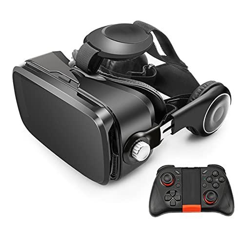 YMXLXL 3D VR Gafas de Realidad Virtual, VR Glasses Visión Panorámico 360 Grado Película 3D Juego Immersivo para Móviles 4.0-6.0Pulgada,Gafas VR con Auriculares,A