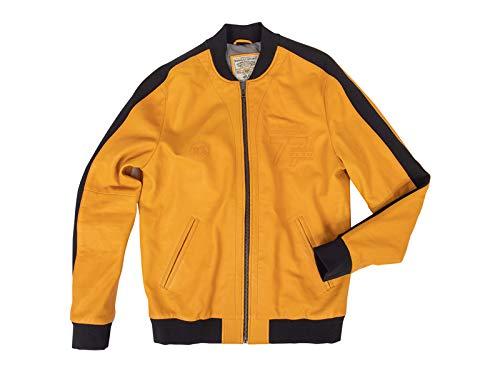 Renault Sport – Chaqueta de piel amarilla para hombre