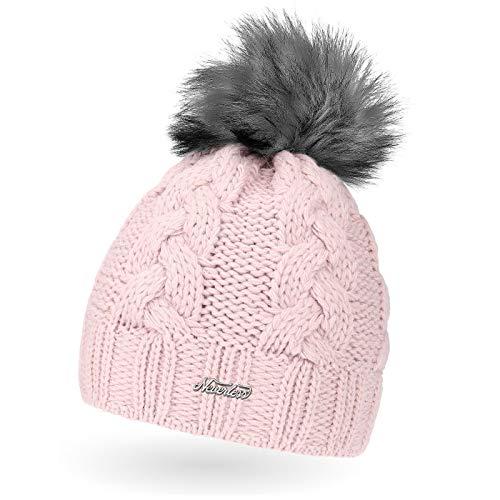 Neverless Damen Strick-Mütze gefüttert mit Fell-Bommel, Kunstfell, Winter-Mütze, Bommelmütze, rosa Unisize