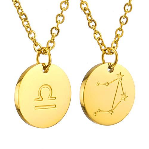 AFSTALR Sternzeichen Kette Waage Gold für Damen Horoskop Kette Mutter Tochter Freunde Geburtstagsgeschenk