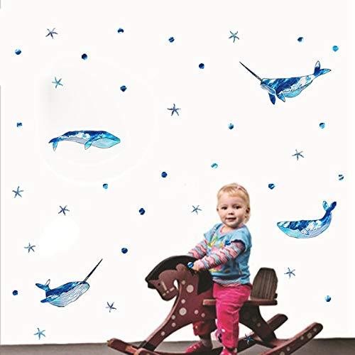 LOUDI Muro de Ballenas de un Cuerno publicado Desde Palo de Dibujos Animados niños habitación de niños Cuarto de jardín de Infantes Decorativo Vinilo