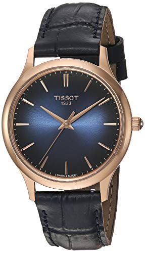 Tissot womens Excellence Steel And 18K Gold Dress Watch Blue T9262107604100
