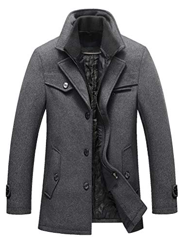Lavnis Herren Warm Wollmantel Stehkragen Wintermantel Kurzmantel Winter Jacke Business Freizeit Style4 Grey L