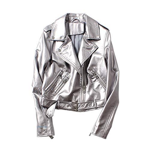 MISSMAO Damen Kurz Jacke Lederjacke Casual Damenjacke Bikerjacke Pilotenjacke Frauen Retro Rivet Reißverschluss Oben Bomberjacke Cool Streetwear Mantel Outwear,Silber,L