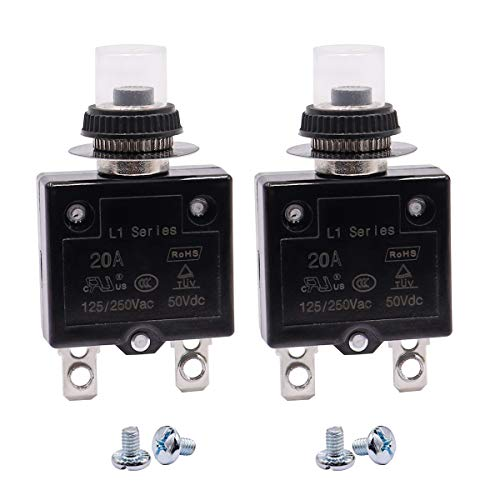 mxuteuk 2Pcs 20Amp Circuit Breakers Push Button Manual Reset 125/250V AC 50V DC, L1 Series Overload Protector Switch Thermal Circuit Breakers with Waterproof Button Caps L1-ls-20A