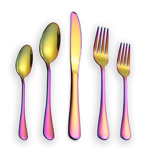 Berglander Besteck Set 30 Stück, Edelstahl Mit Titan Regenbogen Farbe Überzogen, Mehrfarbig Besteckset, Service Für 6, 30 Stück