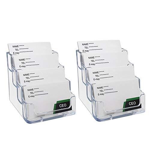 2 Piezas de Portatarjetas Soportes para Tarjetas de Vista Profesional Titulares de Tarjetas de Negocios Tarjetero de Acrílico Transparente Capacidad de 240 Tarjetas 4 Compartimentos
