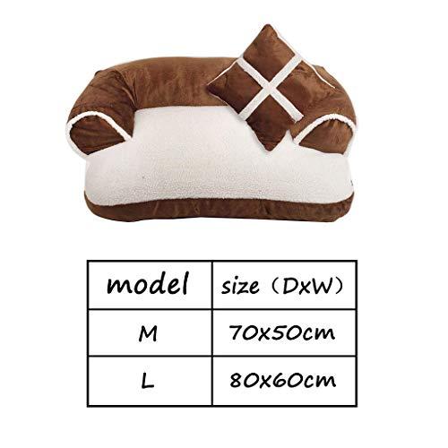 GBX Sofá cama para mascotas universal Four Seasons para el hogar, cama con sofá para perros, Puppy/Kitten Lounge House, cama para perros grande y extraíble con cojines para perros, perrera,marrón,8