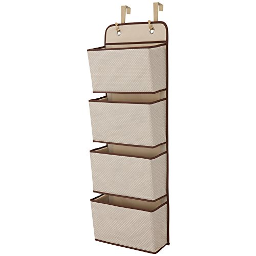 Delta Children 4 Pocket Over The Door Hanging Organizer, Easy Storage/Organization Solution - Versatile and Accessible in Any Room in the House, Beige