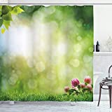 ABAKUHAUS Natur Duschvorhang, Frische Frühlingsblüten, Wasser Blickdicht inkl.12 Ringe Langhaltig Bakterie & Schimmel Resistent, 175 x 200 cm, Grün hellgelb Rosa
