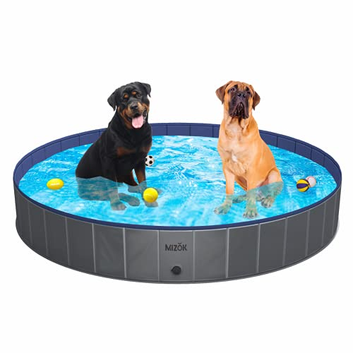 """MIZOK Foldable Dog Pool & Kiddie Pool, Hard PVC Plastic Pool 63"""" Collapsible Wading Pool for Small Large Dogs Cats Kids and Duck for Indoor and Outside, Gray"""