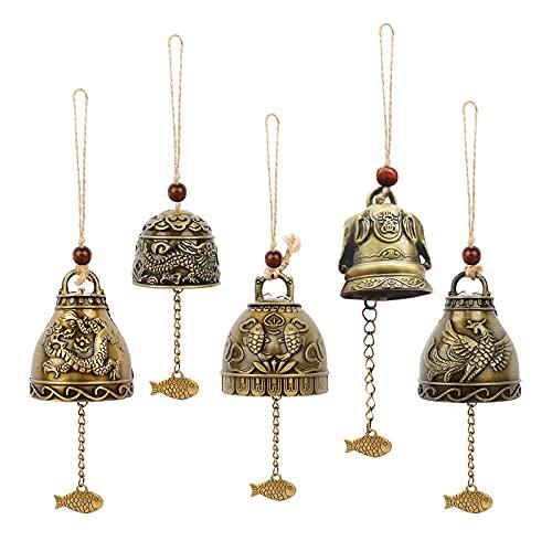 opamoo Campanas de Metal de Feng Shui, 5 Piezas Campana De La Fortuna, Campana De Dragón,Campanas de Bronce, Campana de Feng Shui,Carillón De Viento Tradicional para Timbre de Puerta o Decoración