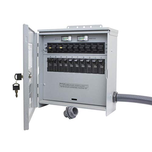R310A Pro/Tran2 Outdoor 30-Amp 10-Circuit 2 Manual Transfer Switch with L14-30 Power Inlet
