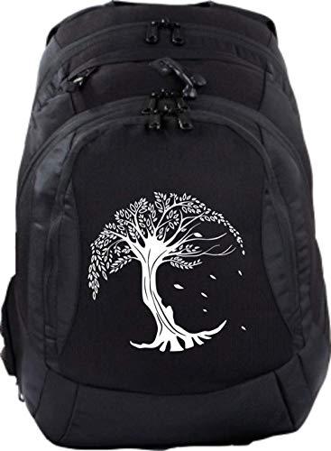 Mein Zwergenland Sac à dos d'écolier Teen Compact 26 L, noir, Tree of Life