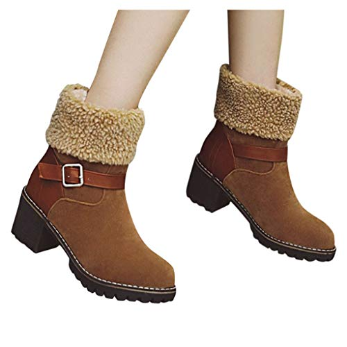 Review Of BEAUTYVAN Women's Winter Snow Boots Warm Suede Chunky Mid Heel Fur Lined Buckle Ankle Boot...