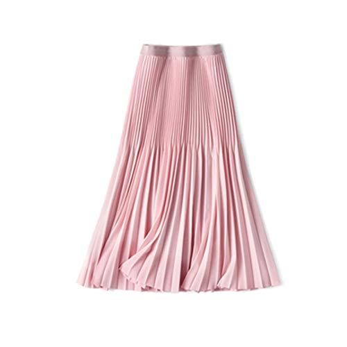 Color Color Color Verano Mujeres Ladies Falda Larga Negro Blanco Blanco Cintura Alta Suelta Cintura Elástica Falda Plisada Pink One Size