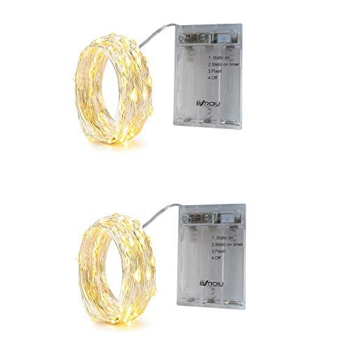 BXROIU 2 x 20er Micro LED Lichterkette Batterie betrieb und 3 Programm Timer Auf 2Meter Silberdraht für Party, Weihnachten, Halloween, Hochzeit Deko (Warm weiß)
