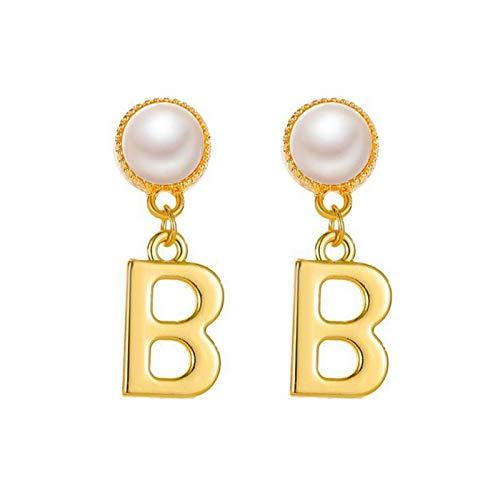 Janly Clearance Sale Pendientes para mujer, con letra B, pendientes de perlas femeninas, pendientes de temperamento, conjuntos de joyas, día de San Valentín (plata)