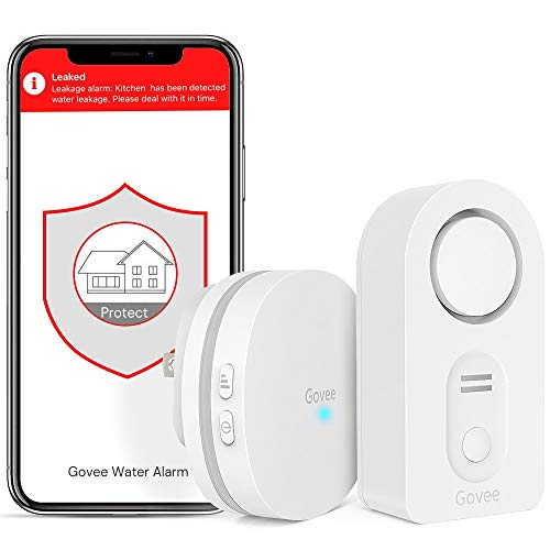 Govee WiFi Water Detector, 100dB Loud Audio Water Leak Detector Wireless Water Sensor with Email, Notification, App Alerts, Remote Monitor Water Detector for Home Basement[Don't Support 5G WiFi]