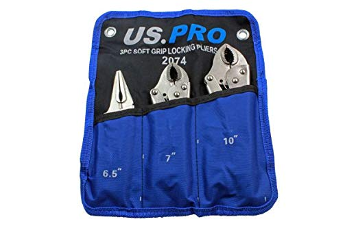 US PRO 3pc Locking Plier Set Long Nose & Curved Jaw Mole Vice Vise Grips...