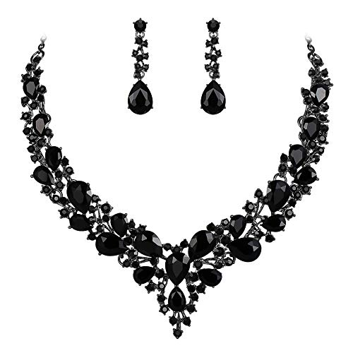 BriLove Wedding Bridal Necklace Earrings Jewelry Set for Women Austrian Crystal Teardrop Cluster Statement Necklace Dangle Earrings Set Black Black-Silver-Tone