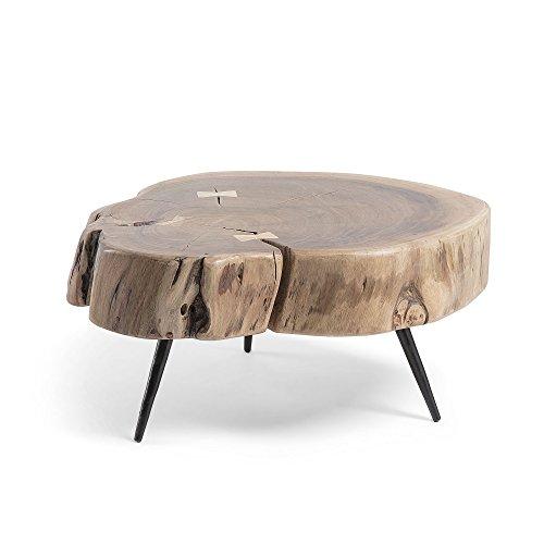 Kave Home - Mesa Auxiliar Eider Redonda Ø 49 cm de Madera de Acacia con Patas de Acero en Negro