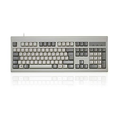 Perixx PERIBOARD-106MW, Teclado USB Eficiente Full Size, Teclas Ergonómicas Curveadas, Estilo Retro Clásico - QWERTY Español (Blanco y Beige)