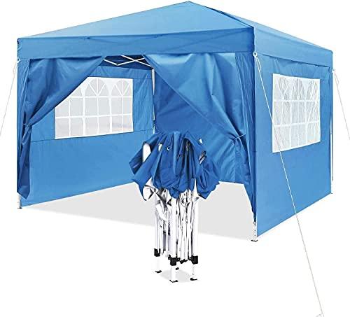 Carpa Plegable de 3 x 3 m, Carpa Impermeable, Cenador Plegable, Altura Ajustable, con 4 Paneles Laterales, Protección Solar, Bolsa De Transporte, para Fiestas, Jardín, Portátil, Azul