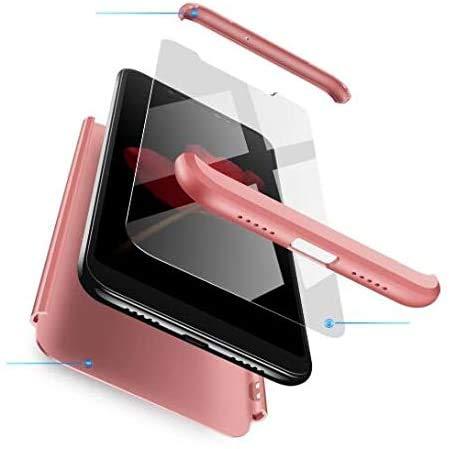 AKC Funda Compatible Xiaomi Redmi 5 Plus Anti-Scratch,con 2 *Vidrio Templado Carcasa Prueba de Golpes Case,Hard Caja Cover-Oro Rosa