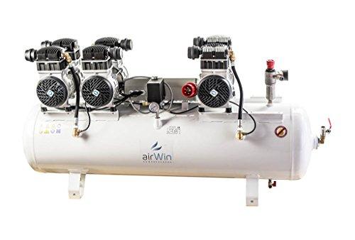 Airwin Leiselauf Druckluft Kompressor ölfrei 1,5+1,5+1,5 kW/400 V (mit Schaltelekronik zum Zeitversetzten Anlauf der Pumpengruppen), 8 bar, 150 l Liter Kessel, 750 l/min Ansaugleistung